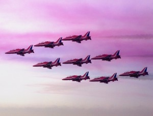 A picture of red arrows at Clacton Airshow