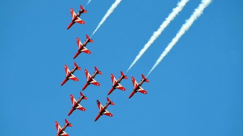 The red arrows are flying at the clacton air show this summer