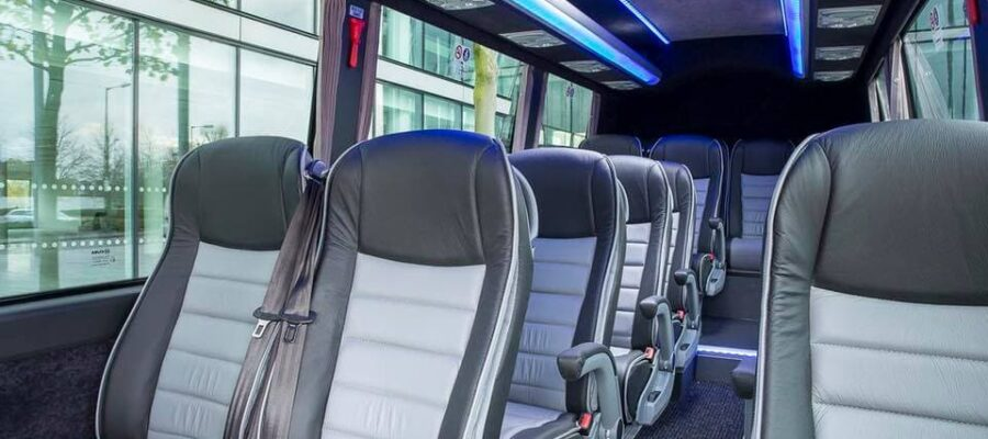 An image of the inside of a Masons Coach Hire large coach.