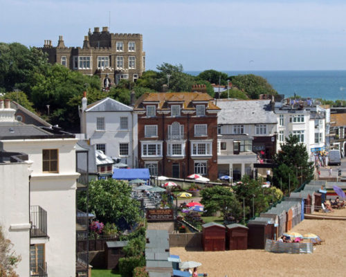 An image of some houses and the beach in Broadstairs